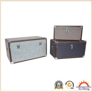 Wooden Decorative Fabric Linen Cloth Cover Storage Trunk pictures & photos