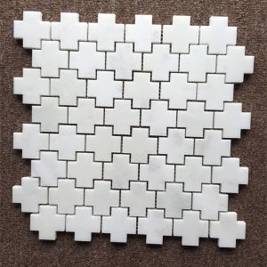 The Cross Shape Oriental White Marble Floor Marble Mosaic Tile pictures & photos