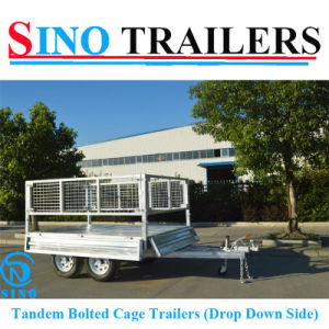 Tandem Drop Down Side Box Cage Trailers pictures & photos