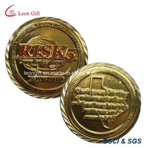 Customized Metal Gold Souvenir Coins with Oblique Line Edge pictures & photos