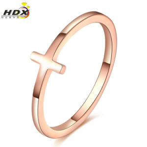 Women Fashion Jewelry Stainless Steel Simple Coss Finger Ring pictures & photos