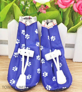 Quality Printing Paws Adjustable Oxford Waterproof Dog Rain Boots pictures & photos