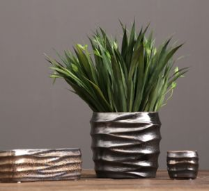 Metal Glaze Ceramic Flowerpot pictures & photos