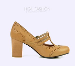 Lady Brogue T-Strap High Heels Pumps Leather Women Casual Shoes pictures & photos