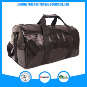 2015 Popular Customized PU and Black Sequin Travel Bag for Traveling pictures & photos