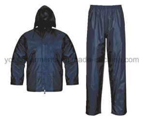 Adult′s Polyester Polyester/PVC Waterproof Rain Suit Rainsuit Raincoat Workwear Rainwear pictures & photos