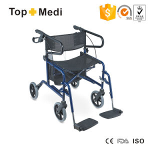 Topmedi Lightweight Wheelchair 4 Wheel Foldable Rollator Walker pictures & photos