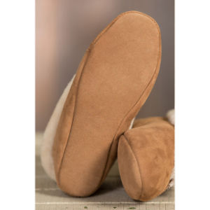 Winter Indoor Soft Leather Sole Woman Slipper Shoe pictures & photos