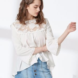 Ladies High Fashion Embroidery Lace Chiffon Blouse pictures & photos