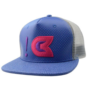 Promotional Gift Custom Embroidery Snapback PU Mesh 5 Panel Trucker Cap pictures & photos