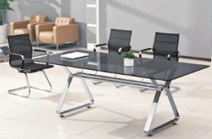Rectangle Metal Leg Tempered Glass Conference Meeting Table /Desk pictures & photos