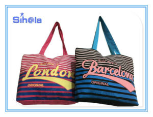 Stripe Style Reverse Color Hot Selling Beach Canvas Bag pictures & photos