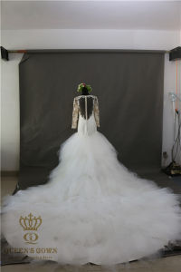 Mermaid Wedding Dresses Court Train Long Sleeve Customized Cheap Brides Dress Lace Bridal Gown pictures & photos