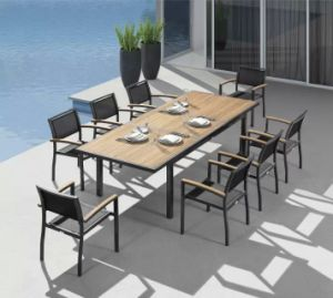 Outdoor Patio Textilene Chair and Wood Top Table