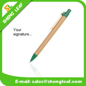 Environmentally Friendly Decomposable Paper and Cowhide Wooden Clip Pen pictures & photos
