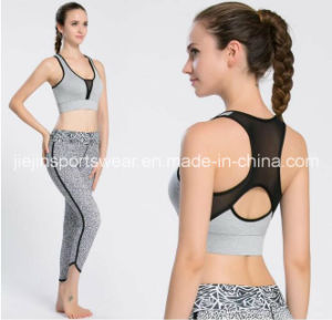 Ladies Grey Dyed Sports Bra and Capris Set, Sexy Black Capris with Mesh pictures & photos