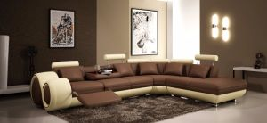 Modern Sofa with Corner for Living Room Sofa Leather Recliner Sofa Set Brown/Beige pictures & photos