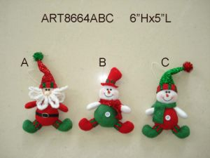 Santa and Snowman Head Ornament, 4 Asst-Christmas Decoration Gift pictures & photos