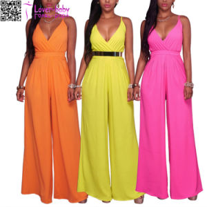 Rosea Hot V Neck Jumpsuit L55323 pictures & photos