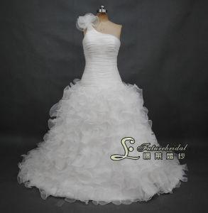 2014 One Shouder Organza Wedding Dresses and Drop Waist Wedding Dress Designer (02508)
