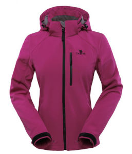 Ladies Stretch Hooded Soft Shell Jacket pictures & photos
