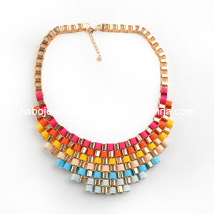 Satin Colors Chain Necklace/Big Chain Necklace/Fashion Jewelry (XJW12026) pictures & photos
