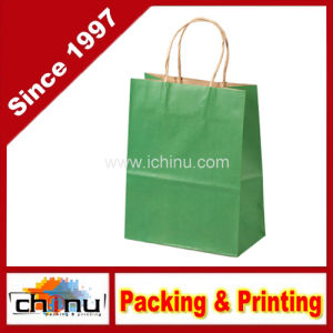 Green Cheap Kraft Paper Bags with Twisted Handle (2137) pictures & photos