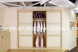 Small Wooden Wardrobes with Leather Sliding Door for Bedroom Furniture