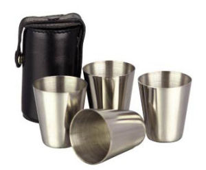 4OZ Stainless Steel Cup with PU Leather Case (WS-J03) pictures & photos