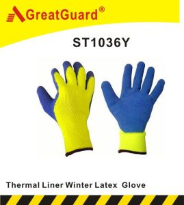 Winter Thermal Latex Glove (ST1036R) pictures & photos