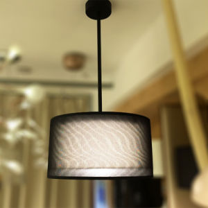 Custom Made Top Grade Black Gold Double Layers Fabric Art Dining Room Pendant Lamp pictures & photos