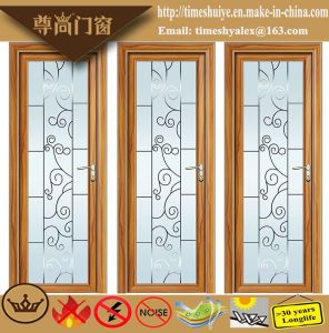 Champagne Color Aluminum Casement Door with Dark Flowers pictures & photos
