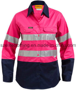 China 100 cotton reflective safety work shirts for lady for 100 cotton work shirts