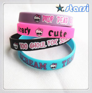 Printed Silicone Wristband with Color Filled for Promotional (STSH)