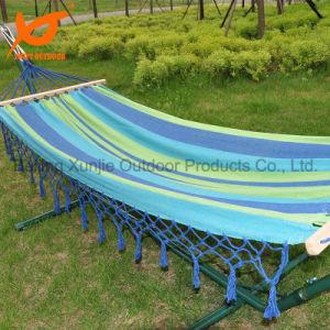Outdoor Fabric Green Stripe Hammock with Spread Bar