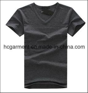 Cotton V-Neck Solid Grey Color Cotton T-Shirt for Man pictures & photos
