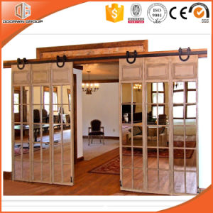 America/USA Latest Lifting Wheel Door, Solid Wood Barn Interior Door with Grille, Sliding Door with Top Track for High-End Villa, Pure Wood Door pictures & photos