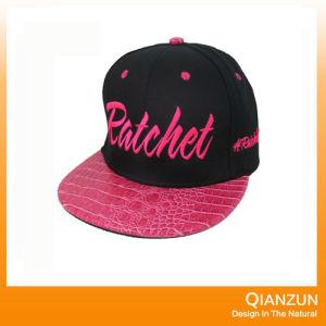 Black Adjustable Snapback Flat Brim Hat pictures & photos