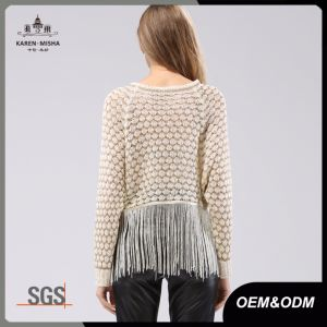 Trendy Bat Sleeve Fringed Sequin Open Knit Women Tops pictures & photos