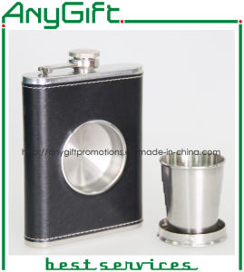 Stainless Hip Flask with Folding Glass with Customized Logo pictures & photos