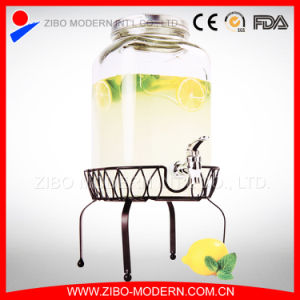7.6L Glass Beverage Dispenser with Faucet and Metal Stand pictures & photos