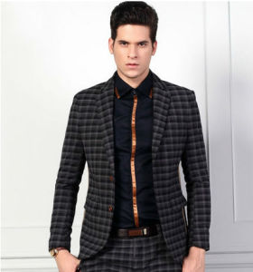 China Men′s 100% Wool Small Check Suits - China Suit, Wool Suit