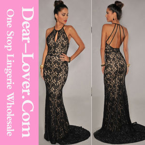 Black Lace Nude Illusion Open Back Evening Gown pictures & photos