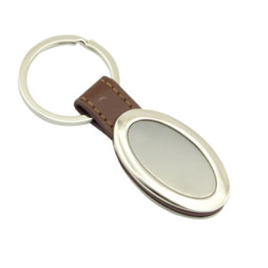 Promotion Zinc Alloy Metal Leather Keyring with Custom Logo (F3054)