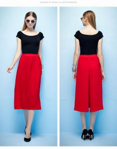 Summer New Design High Waist Cropped Trousers Palazzo Pants pictures & photos