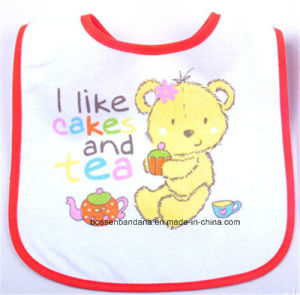 OEM Produce Customized Design Printed Cotton White Baby Bib pictures & photos