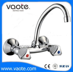 Zinc Body Double Handle Wall Mount Sink Faucet/ Mixer (VT61802) pictures & photos
