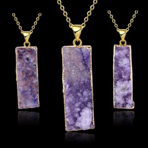 Fashion Jewelry Natural Purplre Rectangle Crystal Pendant Gold Necklace pictures & photos
