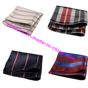 Hot Sale Casual Polyester Silk Free Size Striped Mens Pocket Square pictures & photos
