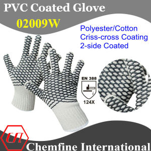 10g White Polyester/Cotton Knitted Glove with 2-Side Black PVC Criss-Cross Coating/ En388: 124X pictures & photos
